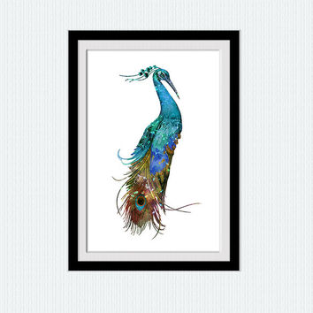 Peacock art print Peacock watercolor poster Bird colorful print Animal art poster Home decoration Living room wall art Peacock decor W483