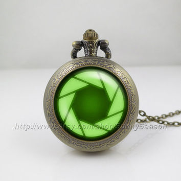 portal valve glados aperture science Pocket Watch, vintage green pendant Locket necklace, Pocket Watch