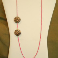 26 inch long Hot Pink and Leopard Chain Asymmetrical Necklace