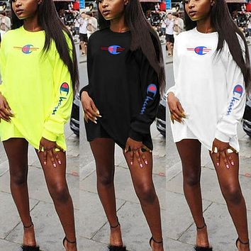 Champion Fashion Women Casual Letter Print Long Sleeve Dress Top