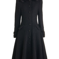 ModCloth Vintage Inspired Long Long Sleeve Mountain Majesty Coat in Black