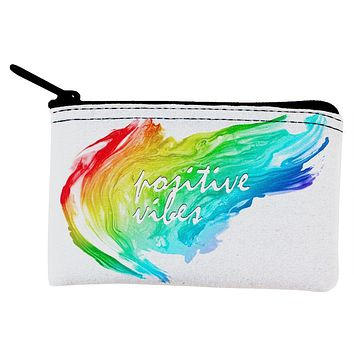 Inspirational Words Positive Vibes Coin Purse