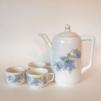 Vintage Porsgrund Porcelain Factory Teapot and Cups with Blue Roses and Hydrangeas - Norway