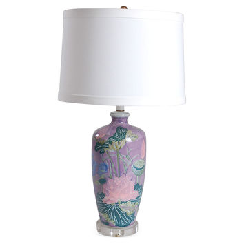 Lotus on Lavender Table Lamp, Acrylic / Lucite, Table Lamps