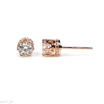 5mm Rose Gold Over Sterling Silver Crown CZ Earrings