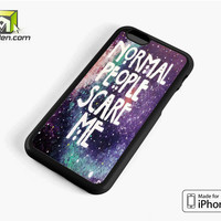 Normal People Scare Me Galaxy Nebula iPhone 6 Case Cover by Avallen