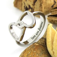"""Infinity Ring Lovers Ring Double Hearts Promise Couples Ring """"Love you forever"""""""