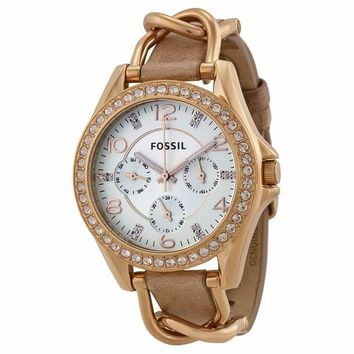 Fossil Womens ES3466 Chronograph Tan Band with Rose Gold Watch