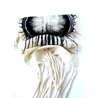 Ohara Shawl White W Black Shadded Ring and Tips   Taiana Design boutique