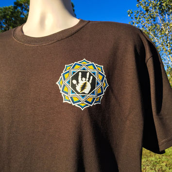 Jerry Garcia Mandala Heart location tee + Gildan preshrunk 100% ultra cotton Grateful Dead T shirt