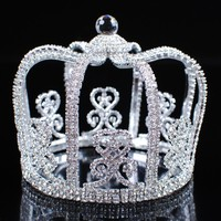 Stunning Men Round Crowns King Prince Tiaras Clear Rhinestone Crystal Wedding Bridal Pageant Party Costumes Hair Jewelry