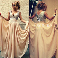 Hot 2016 A-line Deep V-neck Floor Length Champagne Chiffon Sequins Long Evening Dresses Evening Gown Prom Dresses Prom Gown