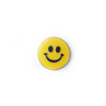 "SMILEY FACE Vintage Lapel Pin - 3/4"" Enamel Pin / Hat Pin - Yellow Smiley Face Pin"