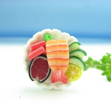 Ebi Round Ring - sushi ring - polymer clay food jewelry , food ring