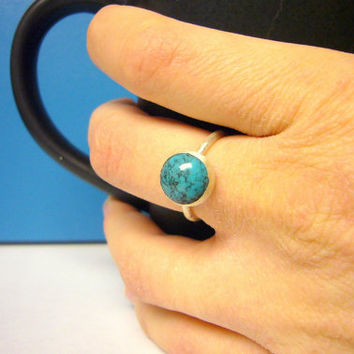 Turquoise ring turquoise sterling silver stacking by WatchMeWorld