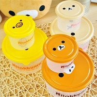 Lunch Box 2 pieces Brown Microwave Rilakkuma Bento Yellow Microwave Nostrils Chickens Crisper lunch box sealed cans Storag Box