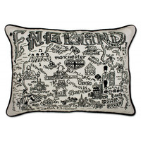 England Black and White Embroidered Pillow