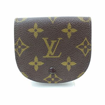Authentic Louis Vuitton Coin Purse Porte Monnaie Gousset Browns Monogram 187006