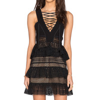self-portrait Lace Up Tiered Dress in Black | REVOLVE