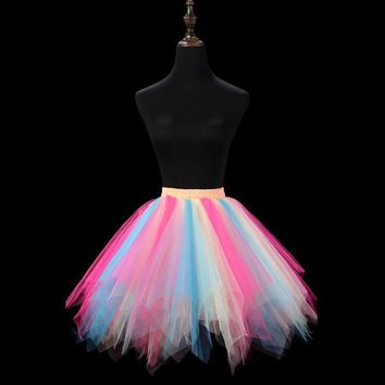 Multicolor Candy Colors Adult Tutu Skirt Stage Dance Clothing Gauze Saia Mini Skirt Performance Faldas Tulle Skirt