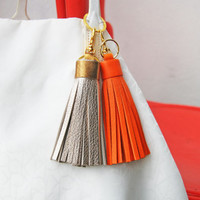 Leather Tassel Keychain Keyring Bag Charm Bridesmaid gift Genuine Ttextured Leather Rustic Leather