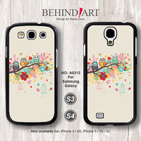 Samsung Galaxy S4 case, Samsung Galaxy S3 case, Phone Cases, Phone Covers, Skins, Case for Samsung, Colorful Owl-A0313
