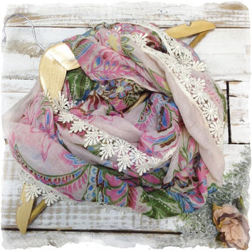 Lace Scarf, Scarves, infinity, women, Pastel multi floral, AMBROSIA  | SC1