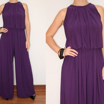 Wide Leg Jumpsuit Palazzo Pants in Purple for Women