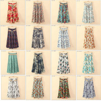 New Fashion Women's BOHO Style 21 Style Classic Floral Print Linen Casual Slim Mid Skirts With Belt PS0536
