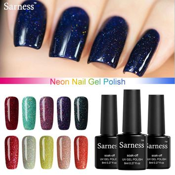 Sarness Nails Gels Removable Gel Lacquer Lucky Colorful Neon UV 8ml Gel Polish Nail Art Shiny Color UV Gel Nail Polish