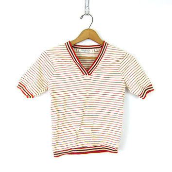 Striped 60s Cropped Ribbed Mod Top Short Sleeved Retro Shirt Red White Ship N Shore Vneck Tee Tshirt 1970s Hippie Preppy Louanne's XS Small