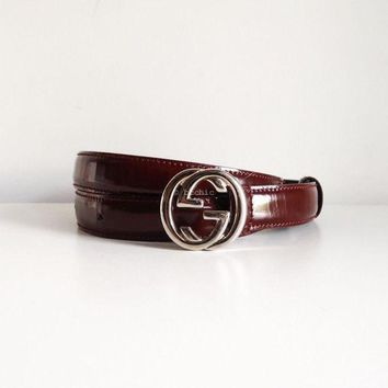 Gotopfashion 100% authentic GUCCI vintage patent leather GG logo belt silver burgundy red 70