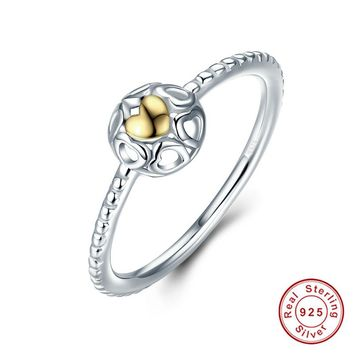 Original 925 Sterling Silver My One True Love mood Ring For Women Anniversary S925 Silver Openwork Heart Jewelry