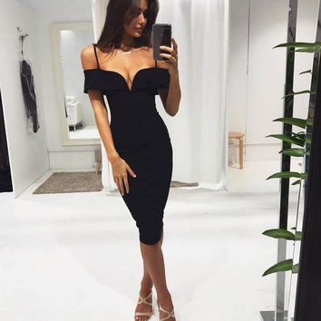 ICIKG2C Herve Leger 2018 Trending Red Black powder apricot V collar Off Shoulder sling Sexy women spring summer prom dress skir