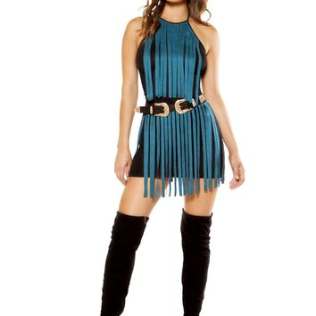 Roma RM-3357 Suede Dress with Fringe Detail