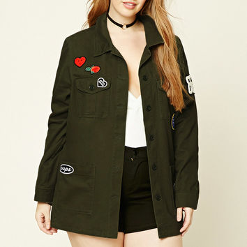 Plus Size Patched Jacket
