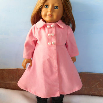 Doll Coat, Light Pink Doll Coat, Corduroy Doll Coat, 18 Inch Doll Clothes, Fits American Girl Dolls, Winter Doll Clothes, Spring Doll Coat