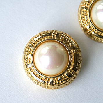 Vintage Christian Dior Earrings Round Ornate by RinnovatoVintage