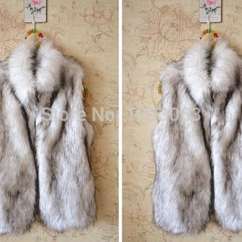 Women/Lady Faux Fur Vest Coat Body Warmer Waistcoat Gilet Warm Furry Fluffy Fuzzy Winter Autumn