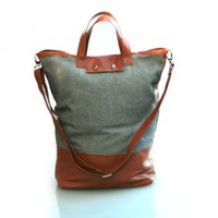 Wool Canvas Leather Carryall