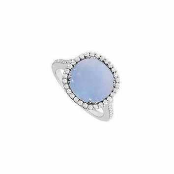 Blue Chalcedony and Diamond Ring : 14K White Gold - 2.50 CT TGW