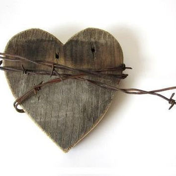 Old Heart barn wood sign rusty barbed wire  Shy by TheLonelyHeart