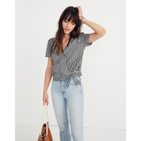 Short-Sleeve Wrap Top in Gingham Check : shopmadewell tops & blouses | Madewell