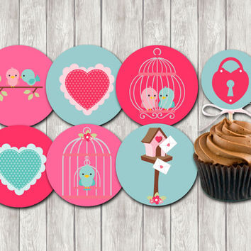 INSTANT DOWNLOAD-love birds cupcake toppers,party printables.favor decoration,valentine,diy party