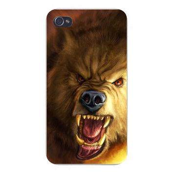 Apple Iphone Custom Case 4 4s Plastic Snap on - Scary Wolf Growling Fangs & Teeth