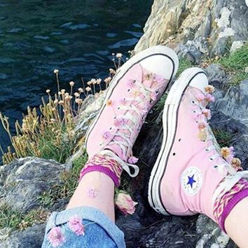 Converse All Star Sneakers canvas shoes for Unisex sports shoes high-top pink