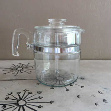 Pyrex Coffee Pot Coffee Percolator Stainless 9 Cup Pot 7759 Flameware Pyrex Flameware Glass Coffee Percolator