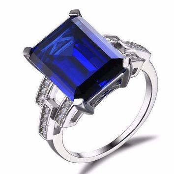 Legacy 9CT Emerald Cut Simulated Russian Sapphire IOBI Precious Gems Ring