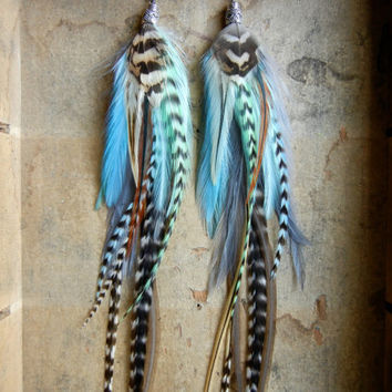 SALE: 20 Percent OFF the ENTIRE shop - The World Is Yours Extra Long Feather Earrings