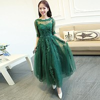 PotN'Patio Medium Long Lace Emerald Green Evening Dresses With Sleeves Luxury Appliques Lace Tulle Formal Dresses 2017